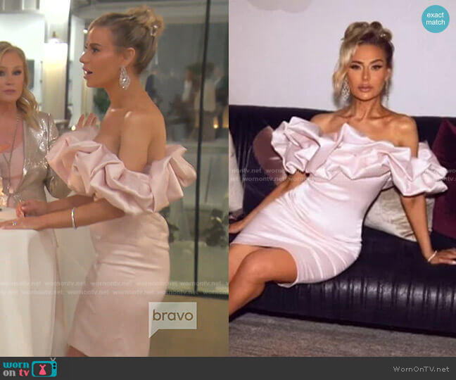 Pink Rose Dress by Dorit x Nektaria worn by Dorit Kemsley  on The Real Housewives of Beverly Hills