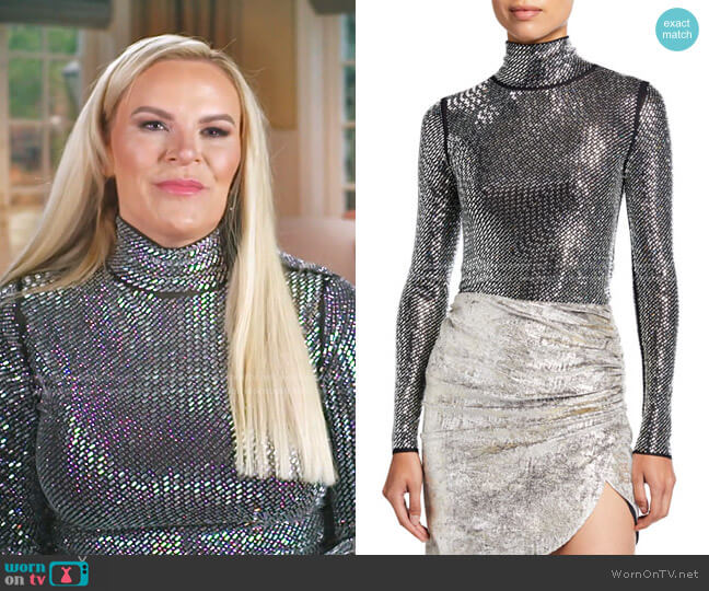 Libeccio Rhinestone Embellished Turtleneck Top by Pinko worn by Heather Gay  on The Real Housewives of Salt Lake City
