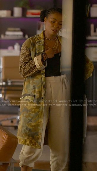 Pippa's camo and leopard print coat on The L Word Generation Q