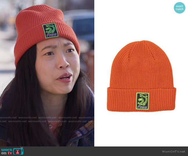 Pleasures Rust Dragon Beanie worn by Nora Lum (Awkwafina) on Awkwafina is Nora From Queens