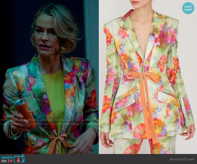 Prabal Gurung Linen Shal Floral Tie Waist Blazer worn by Alice Pieszecki (Leisha Hailey) on The L Word Generation Q