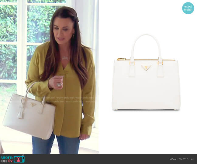 Galleria Tote Bag by Prada worn by Kyle Richards  on The Real Housewives of Beverly Hills