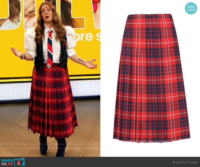Red Check Pleated Skirt by Prada worn by Drew Barrymore  on The Drew Barrymore Show