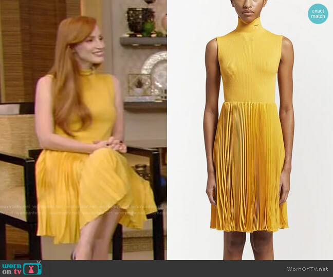 Crepe de Chine Dress by Prada worn by Jessica Chastain on Live with Kelly and Ryan