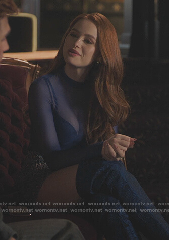 Cheryl's blue printed shorts on Riverdale