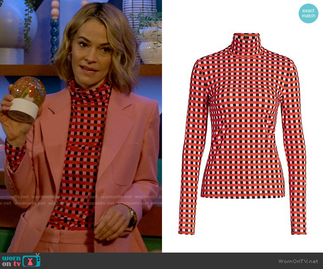 Proenza Schouler Multicolor Gingham Jersey Long Sleeve Turtleneck worn by Alice Pieszecki (Leisha Hailey) on The L Word Generation Q