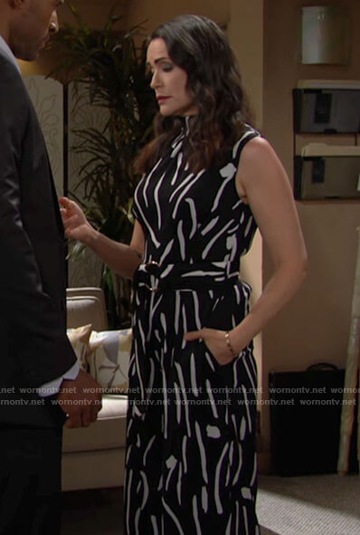 Quinn's black and white abstract print jumpsuit on The Bold and the Beautiful