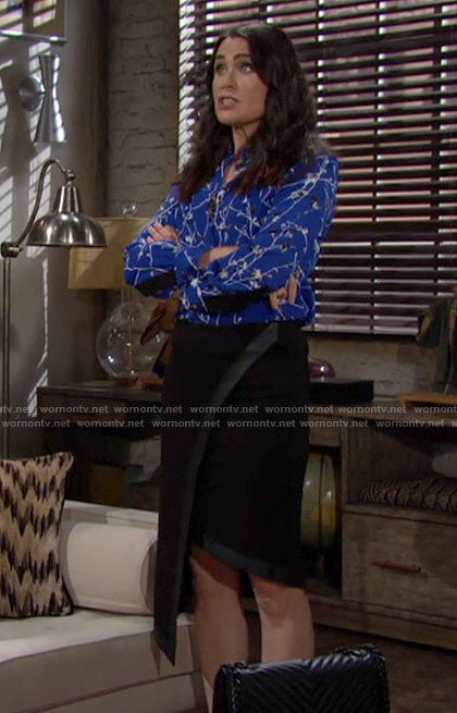 Quinn's blue floral blouse and leather trim skirt on The Bold and the Beautiful