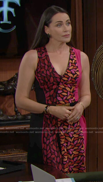 Quinn's mixed lips print dress on The Bold and the Beautiful