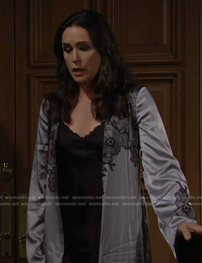 Quinn's silver floral lace robe on The Bold and the Beautiful