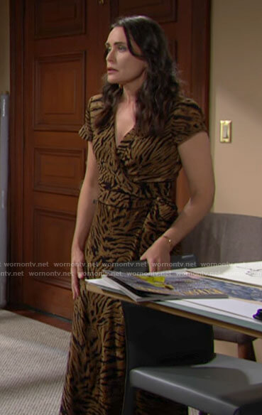 Quinn's tiger print wrap dress on The Bold and the Beautiful