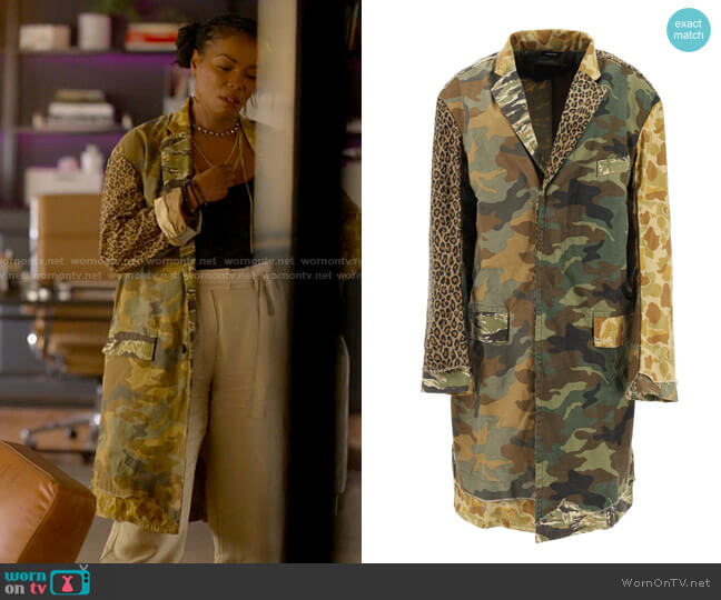 R13 Shredded Camouflage Coat worn by Pippa Pascal (Vanessa Williams) on The L Word Generation Q