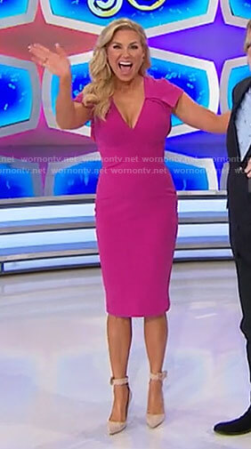 Rachel's pink v-neck dress on The Price is Right