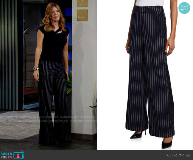 Rachel Zoe Josie Striped Wide-Leg Sequined Pants worn by Phyllis Summers (Michelle Stafford) on The Young & the Restless