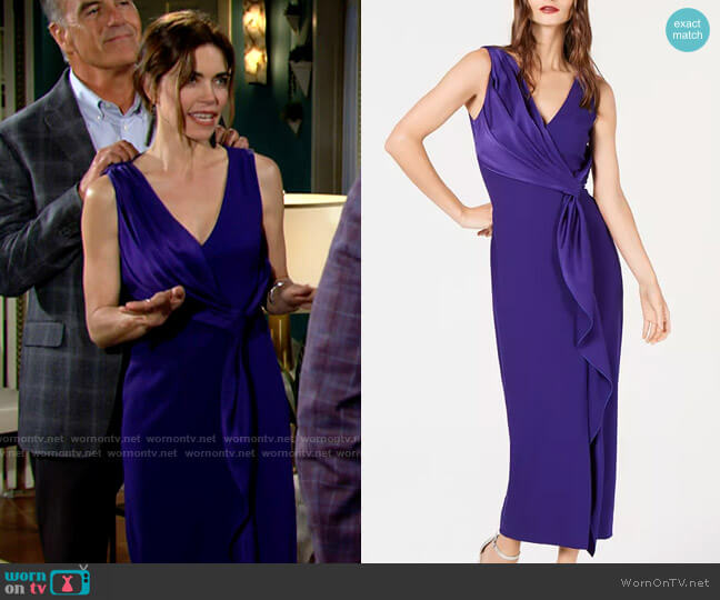 Rachel Zoe Satin Draped Sleeveless Dress worn by Victoria Newman (Amelia Heinle) on The Young & the Restless