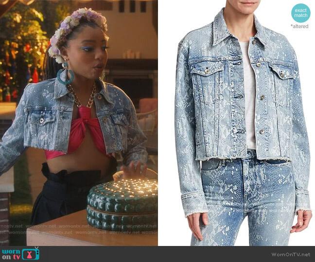 Cut Off Python Denim Jacket by Rag & Bone worn by Jazlyn Forster (Chloe Bailey) on Grown-ish