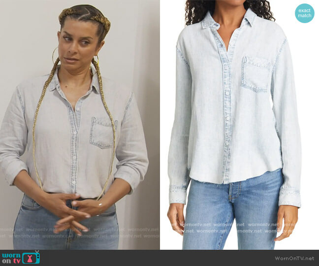 Ingrid Raw Hem Chambray Shirt by Rails worn by Robyn Dixon  on The Real Housewives of Potomac