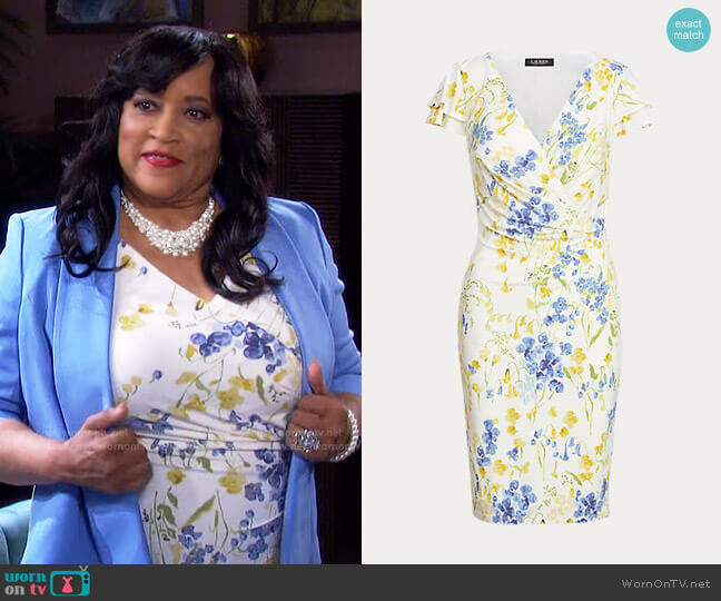 Floral Jersey Surplice Dress by Ralph Lauren worn by Paulina Price (Jackée Harry) on Days of our Lives