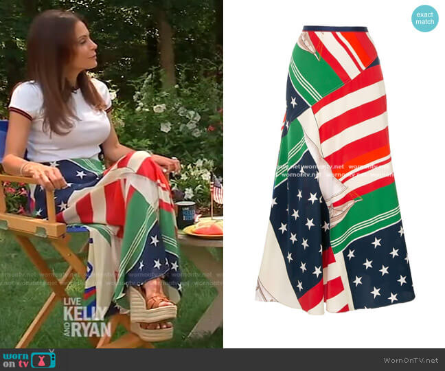 Silk Printed Midaxi Skirt by Ralph Lauren worn by Bethenny Frankel on Live with Kelly and Ryan