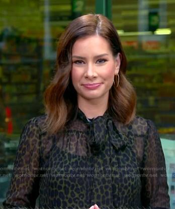 Rebecca's green leopard tie neck blouse on Good Morning America