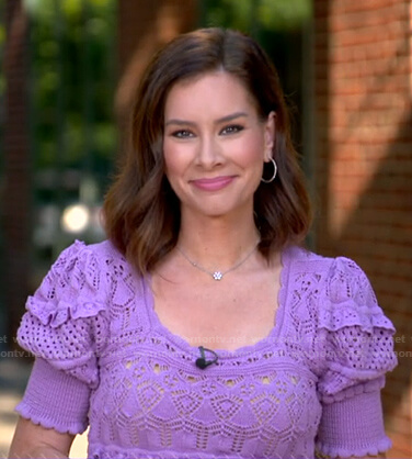 Rebecca's purple pointelle knit top on Good Morning America