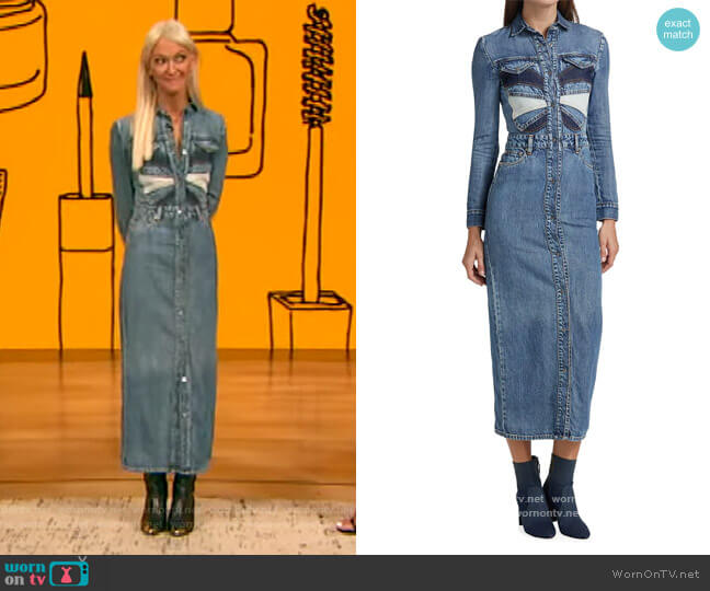 Denim Patchwork Butterfly Dress by RED Valentino worn by Zanna Roberts Rassi on The Drew Barrymore Show