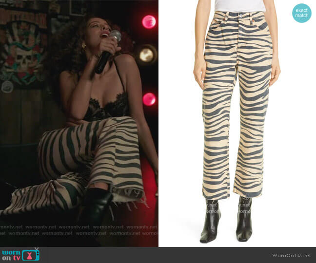 70s Nonstretch High Waist Loose Flare Leg Jeans by Re/Done worn by Valerie Brown (Hayley Law) on Riverdale