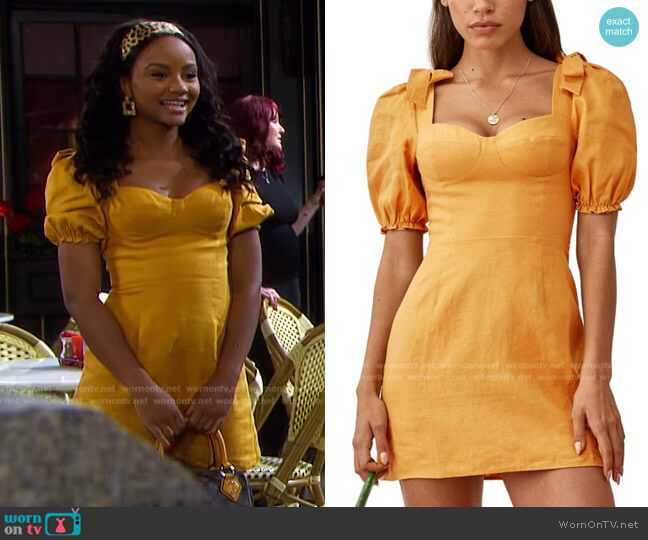 Spring Bow Sleeve Dress by Reformation worn by Chanel Dupree (Raven Bowens) on Days of our Lives