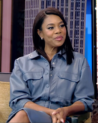 Regina Hall's blue leather cropped jumpsuit on Live with Kelly and Ryan