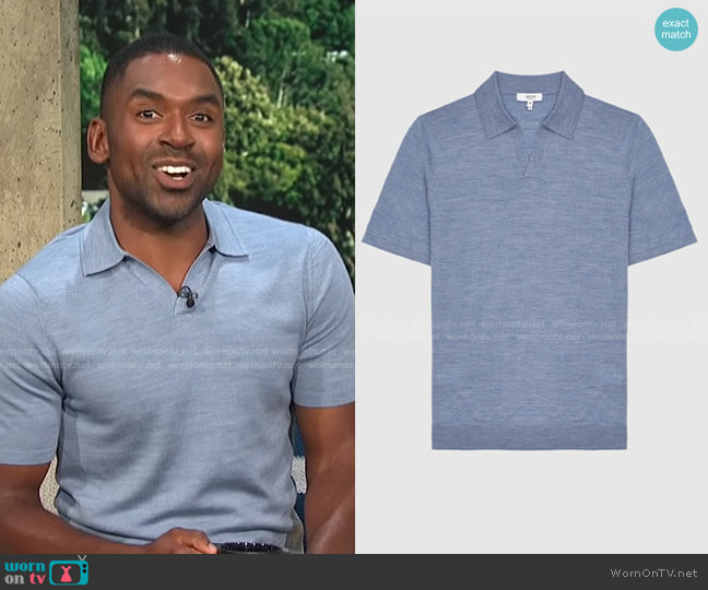 Duchie Solid Wool Polo Shirt by Reiss worn by Justin Sylvester  on E! News