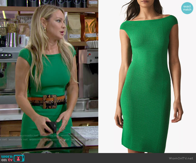 Reiss Pippa Green Dress worn by Sharon Collins (Sharon Case) on The Young & the Restless