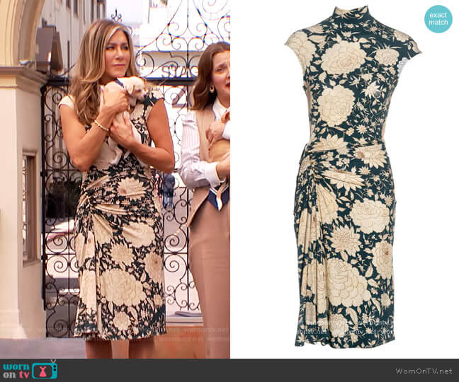 Teal Floral Ruched Dress by Roberto Cavalli worn by Jennifer Aniston on The Drew Barrymore Show