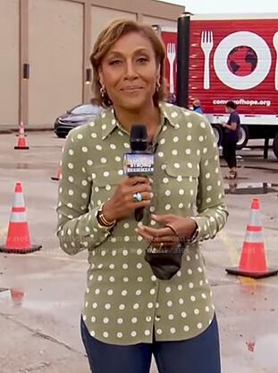 Robin's green polka dot button down shirt on Good Morning America