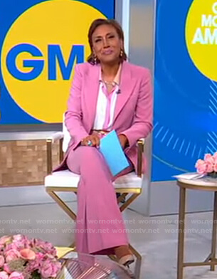 Robin's white contrast blouse and pink blazer on Good Morning America