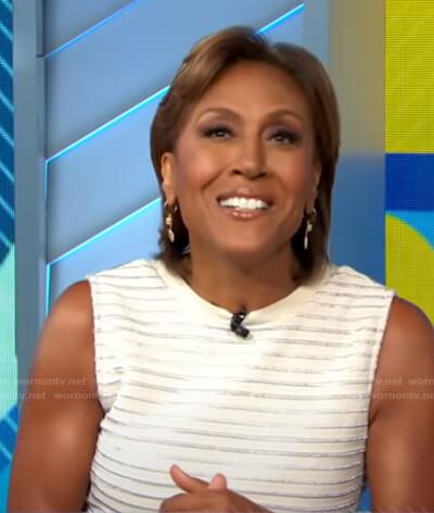 Robin's white metallic stripe sleeveless dress on Good Morning America