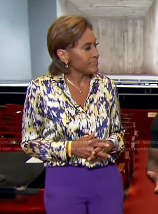 Robin's multicolor abstract print blouse on Good Morning America
