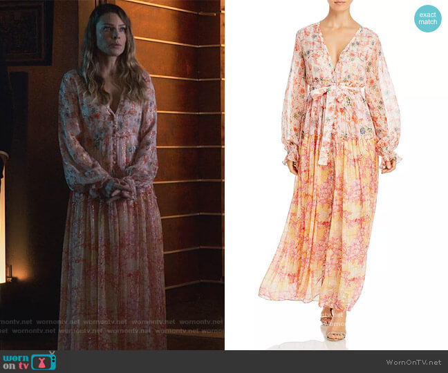 Tie Waist Metallic Maxi Dress by Rococo Sand worn by Chloe Decker (Lauren German) on Lucifer