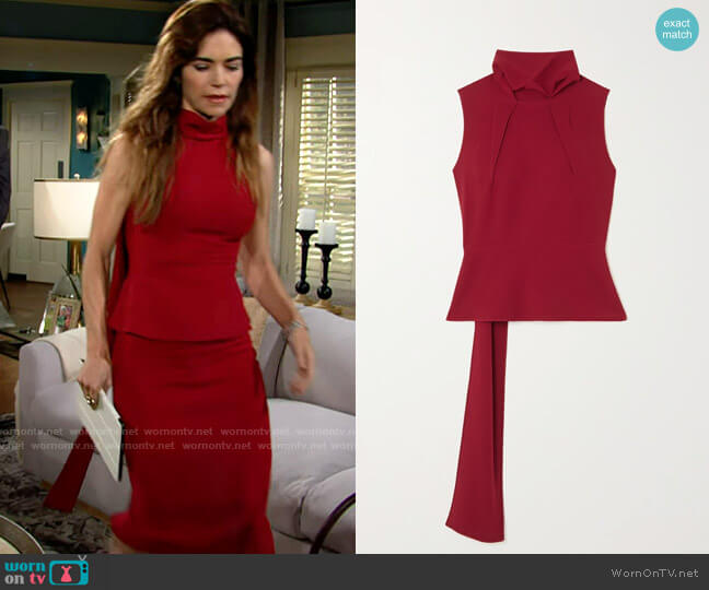 Roland Mouret Birkhall Top worn by Victoria Newman (Amelia Heinle) on The Young & the Restless