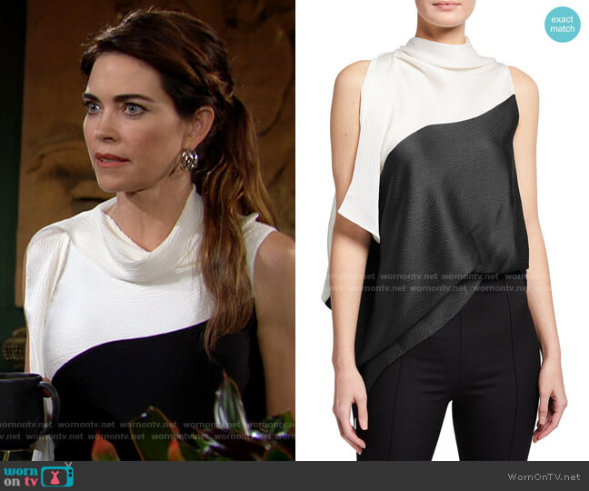 Roland Mouret Tavistock Top worn by Victoria Newman (Amelia Heinle) on The Young & the Restless