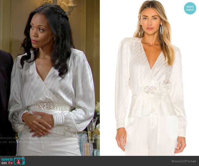 Ronny Kobo Lorrie Top worn by Amanda Sinclair (Mishael Morgan) on The Young & the Restless