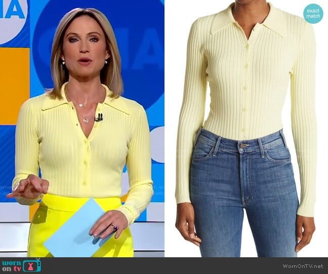 Cyndie Long Sleeve Ribbed Bodysuit by Ronny Kobo worn by Amy Robach  on Good Morning America