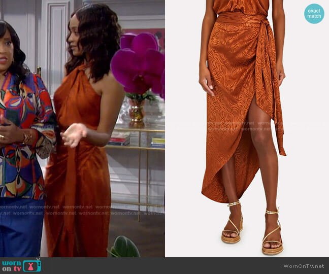 Kit Tiger Jacquard Sarong Skirt by Ronny Kobo worn by Lani Price (Sal Stowers) on Days of our Lives