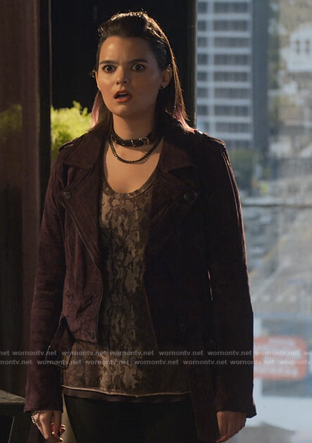 Rory's purple suede jacket on Lucifer