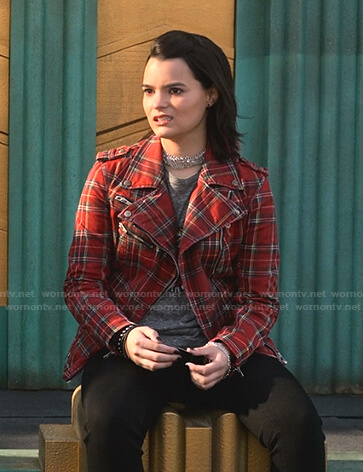 Rory's red plaid moto jacket on Lucifer