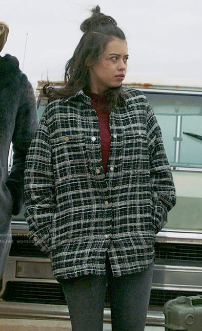Rosa's black plaid shirt jacket on Roswell New Mexico