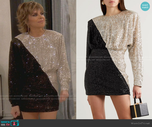 Billie Two-Tone Sequined Mini Dress by Rotate Birger Christensen worn by Lisa Rinna  on The Real Housewives of Beverly Hills