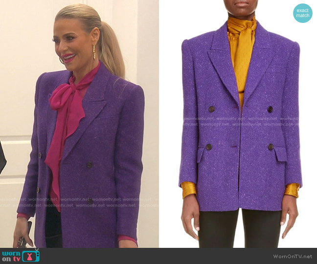 Double Breasted Wool Tweed Blazer by Saint Laurent worn by Dorit Kemsley  on The Real Housewives of Beverly Hills