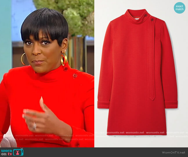 Wool-blend mini dress by Saint Laurent worn by Tamron Hall  on Tamron Hall Show