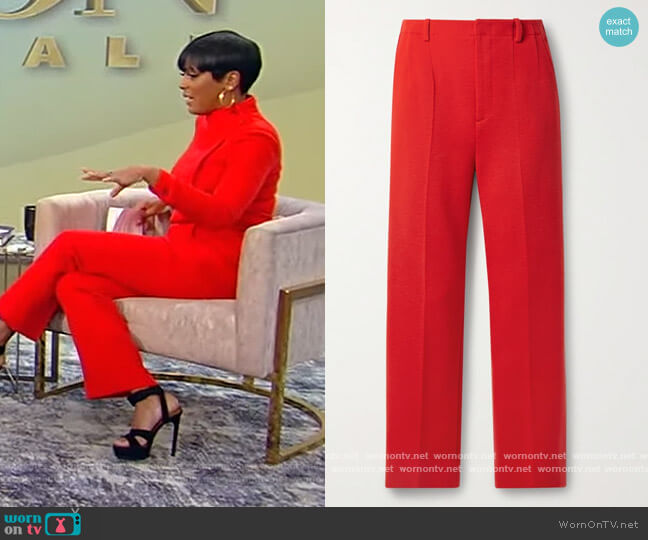 Wool-blend straight-leg pants by Saint Laurent worn by Tamron Hall  on Tamron Hall Show