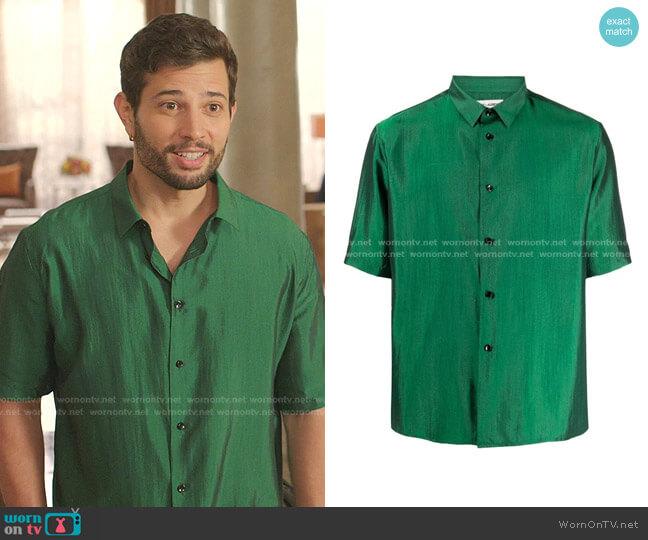 Iridescent Silk Shirt by Saint Laurent worn by Sam Flores (Rafael de la Fuente) on Dynasty